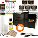 Custom Shop Pinstriping Deluxe Box Kit - 5 Colors, Tape, Chart, Reducer, Brushes, Mix Sticks and Mixing Cups - All Metal Storage Box