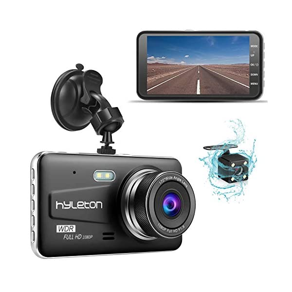 Dash Camera for Cars,Hyleton 1080P HD Dual Dash Cam Front and Rear,4″ IPS Screen Dashboard Camera Recorder,170°Wide Angle, G-Sensor,WDR, Night Vision,Loop Recording, Parking Monitor, Motion Detection