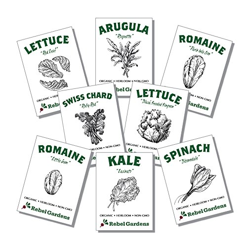 Organic Garden Greens Vegetable Seeds - 8 Varieties of Heirloom, Non-GMO Salad Greens Seeds - Lettuce, Arugula, Swiss Chard, Kale, and Spinach ()