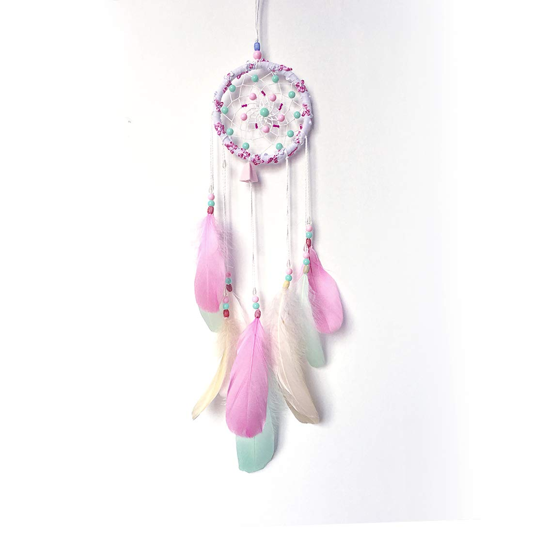Feather Dream Catcher Hanging Ornament Gift Handmade Traditional Feather Dreamcatcher Wall Hanging Car Hanging Home Decoration Decor Ornament Craft for Kids Girls Home Bedroom (Colourful)