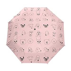 LEVEIS Dog Printing Compact Travel Umbrella w/ Windproof Double Canopy Construction Auto Open Close