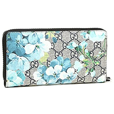 6dc3304957421a Amazon.com: Gucci Blooms Flower Wallet Travel Large Zip around Box Bloom  Navy Blue Italy New: Shoes