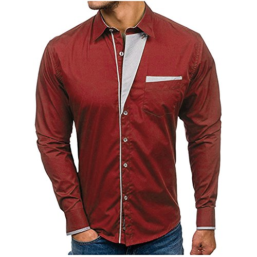 Mens Shirt Tops QUNANEN Tee Shirts Autumn Casual Formal Slim Fit Solid Long Sleeve Dress Shirt Top Blouse Red