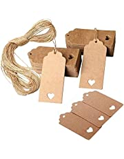 150 PCS Brown Gift Tags, Kraft Paper Tags Heart Hollow Brown Gift Tags Labels Rectangular Wedding Favour Paper Tags Craft Hang Tags Luggage Tags Brown Card with Jute Twine 30 Meters