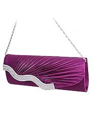 Padoora Women's Bridal Diamante Pleated Evening Clutch Bag Cocktail Party Handbag Purse(Purple)