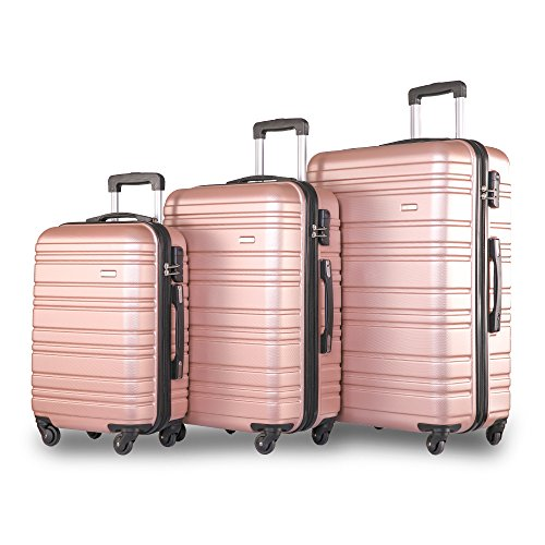 Merax  Set of 3 Light Weight Hardshell 4 wheel Travel Trolley Suitcase...