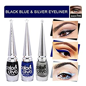 Color Diva Black, Silver, Blue Eyeliner Pack of 3