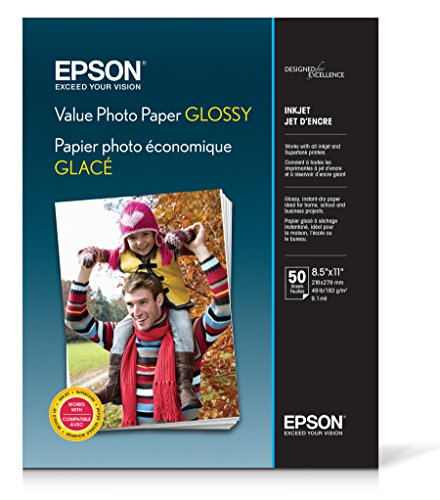 (Epson Value Photo Paper Glossy, Letter, 50 Sheets (S400031))