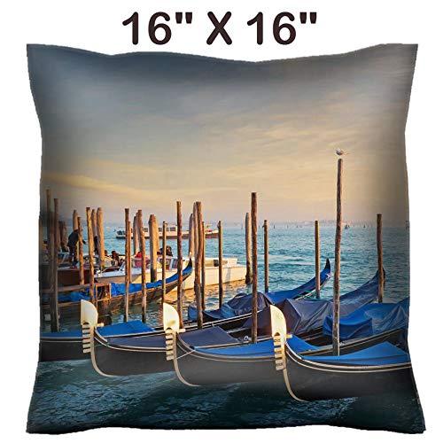 Liili 16x16 Throw Pillow Cover - Decorative Euro Sham Pillow Case Polyester Satin Soft Handmade Pillowcase Couch Sofa Bed Gondolas in San Marco Shore 28252904