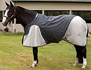 EOUS Banbridge Heavy Weight Turnout Blanket, Charcoal Grey/Silver, 69