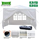 VINGLI 10' x 10' Heavy Duty Canopy Wedding Party Tent with 4 Removable Sidewalls,Upgraded Steady Sunshade Winter Snow Shelter Outdoor Carport Event Gazebo Pavilion,w/Carrying Bag
