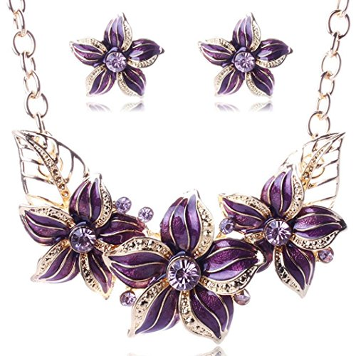 TOPUNDER Women's Elegant Vintage Flower Necklace Statement Earrings Jewelry Set by