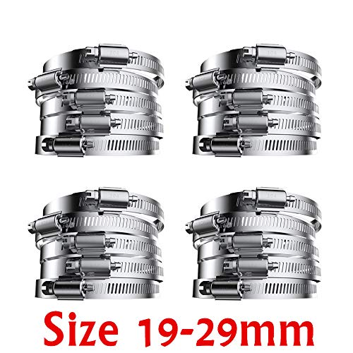 20 Pack of 304 Stainless Steel Hose clamp, high Hardness Coefficient, Polished Smooth, Fuel Line Clamp for Plumbing, Automotive and Mechanical Application, Size 19-29mm (19-29mm (20 Pack))