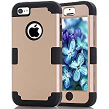 iPhone 5C Case, MCUK [Shock Absorption] [Drop Protection] Hybrid Best Impact Defender Cover Shell Plastic Outer & Rubber Silicone Inner for Apple iPhone 5C (Gold+Black)