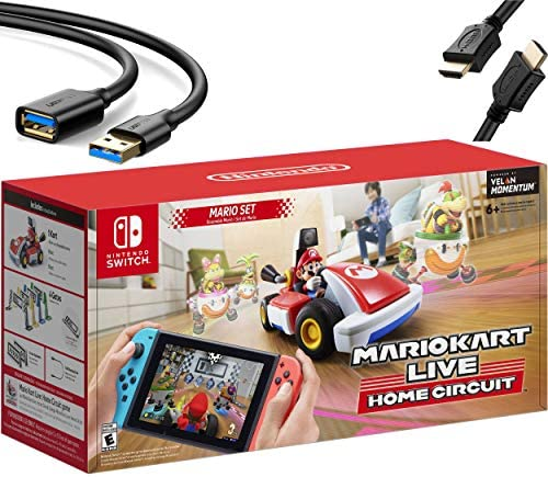 2020 Newest Nintendo Mario Kart Live: Home Circuit - Mario Set Edition - Holiday Family Gaming Bundle for Nintendo Switch, Nintendo Switch Lite - RED - iPuzzle USB Extension Cable + HDMI Cable