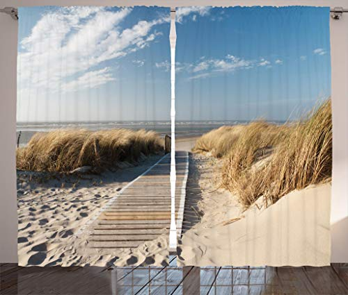 (Ambesonne Seaside Decor Collection, Footpath Sunny Day Windy Weather European Beach Grass Germany Landscape Image Print, Living Room Bedroom Curtain 2 Panels Set, 108 X 90 Inches, Blue)
