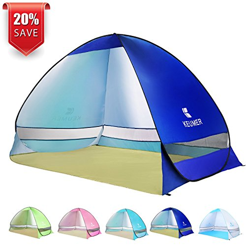 BATTOP Pop Up Beach Tent Camping Sun Shelter Outdoor Automatic Cabana 2-3 Person Fishing Anti UV Beach Tent Beach Shelter, Sets up in Seconds (Darkblue)
