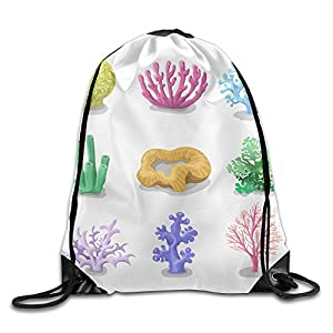 Skkoka Men&Women Colorful Corals Reef Nature Underwater Fauna Durable Tennis Drawstring Backpack,Drawstring Backpack,Backpack,Drawstring Pocket Canvas,Bag Organizer,Travel Bag