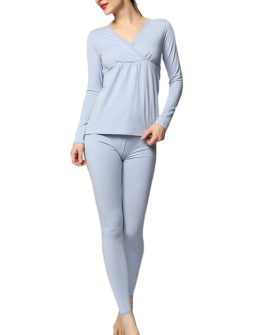 Zhhlinyuan Women's Modal Pregnancy Pajamas Set - Long Sleeve Nursing Tops & Leggings