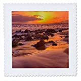 3dRose Danita Delimont - Sunsets - USA, Hawaii, Maui, Golden Sunset on Southern Maui Beach - 18x18 inch quilt square (qs_259248_7)