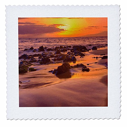 3dRose Danita Delimont - Sunsets - USA, Hawaii, Maui, Golden Sunset on Southern Maui Beach - 18x18 inch quilt square (qs_259248_7) by 3dRose