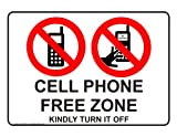 ComplianceSigns Vinyl Phone Rules Label, 7 x 5 in. with English, White