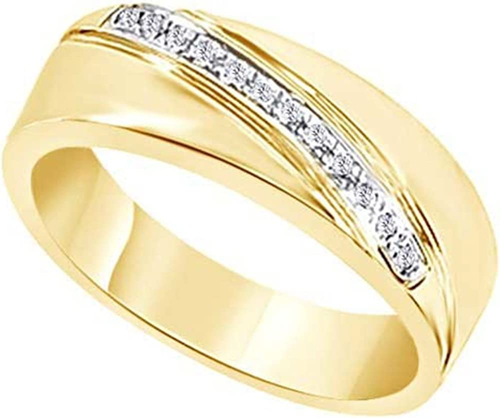 Wishrocks 14K Gold Over Sterling Silver Cubic Zirconia Mens Hip Hop Wedding Band Ring