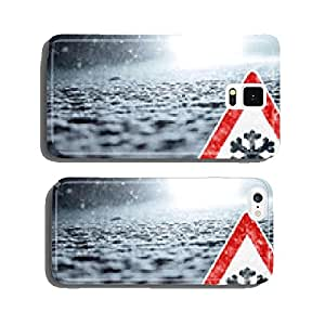 Abstract Winter Background with Warning Sign cell phone cover case Samsung S5