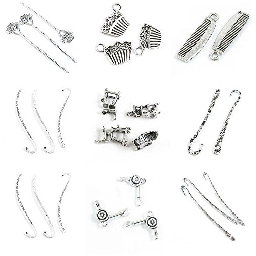 26 Pieces Jewelry Making Charms Bookmark Book Mark Hair Sticks Dryer Umpire Chair Haircomb Comb ()