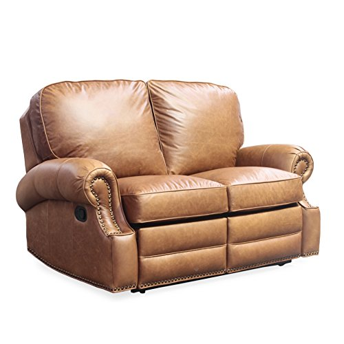 Barcalounger Longhorn II Leather Reclining Loveseat Sofa Chaps Saddle Top Grain Leather Chair with Espresso Wood Legs - Standard Curbside Delivery to Hawaii, Alaska, Puerto Rico and Canada by BarcaLounger