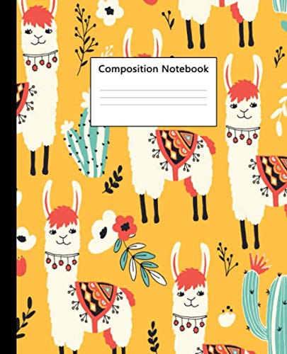 Composition Notebook: Wide Ruled Paper Notebook Journal | Cute Orange Wide Blank Lined Workbook for Teens Kids Students Girls for Home School College ... Notes | Nifty Llama & Succulents -