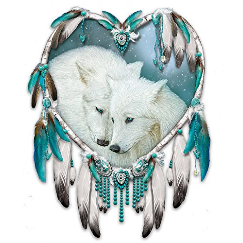 Carol Cavalaris Wall Decor with Romantic Wolf Art on Real Leather with Feathers by The Bradford Exchange