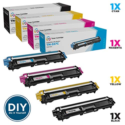 LD Compatible Toner Cartridge Replacement for Brother TN-227 High Yield (Black, Cyan, Magenta, Yellow, 4-Pack)