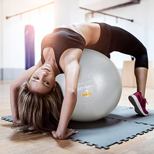 Exercise Ball Chair - 65cm & 75cm Yoga Fitness Pilates Ball & Stability Base for Home Gym & Office - Resistance Bands, Workout Poster & Pump. Improves Balance, Core Strength & Posture - Men & Women by Mantra Sports (Image #5)