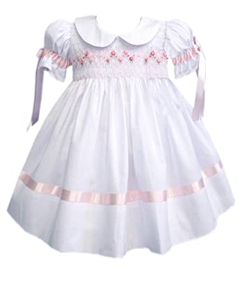 80ed85d4d5d Amazon.com  Carouselwear White Girls Heirloom Dress Pink Ribbons ...