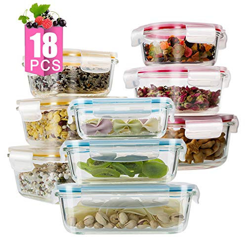 [18Pieces]Glass Meal Prep Containers Glass-Food Storage Containers with Lids
