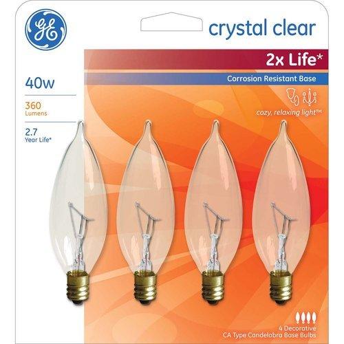 GE 40 Watt Bent Tip Corrosion Resistant Candelabra Base Decorative Type Light Bulbs Crystal Clear - 1 Package (4 Bulbs Total)