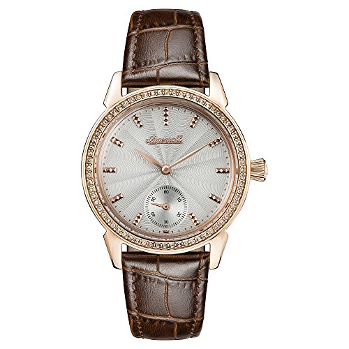 Ingersoll Women's Automatic Stainless Steel and Leather Casual Watch, Color:Brown (Model: I03702)