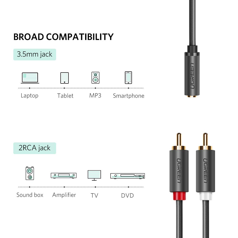 Ugreen 10588, Cable audio jack 3,5mm Hembra a 2RCA Macho, Cable ...