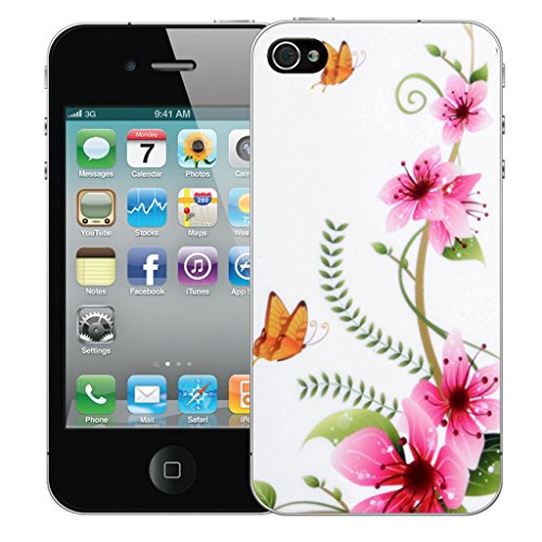 Mobile Case Mate iPhone 5s Silicone Coque couverture case cover Pare-chocs + STYLET - Pink Butterfly pattern (SILICON)