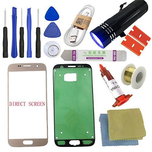 S7 Front Glass Screen Replacement Kit [Direct Screen], Sunmall Front Outer lens Glass Screen Replacement Repair Kit LCD Glass Repair Kit With UV Glue UV Torch For Samsung Galaxy S7 (Gold)