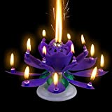 Romantic Music Birthday Candle Two Layers with 14 Small Candles Musical Lotus Rotating Happy Birthday Flower Candle (Purple)
