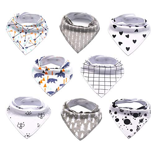 Bandana Drool Bibs for Drooling and Teething, 8 Pack Set of Baby Bandana Bibs for Boys and Girls,100% Organic Cotton Soft and Absorbent,Hypoallergenic Bibs, Baby Shower Gift Set