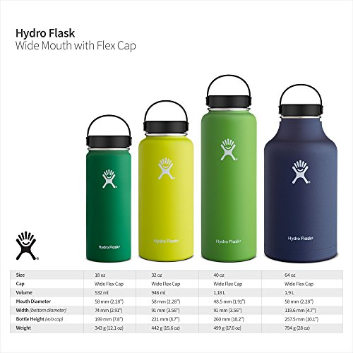 Hydro Flask 32 oz Double Wall Vacuum Insulated Stainless Steel Leak Proof Sports Water Bottle, Wide Mouth with BPA Free Flex Cap, White