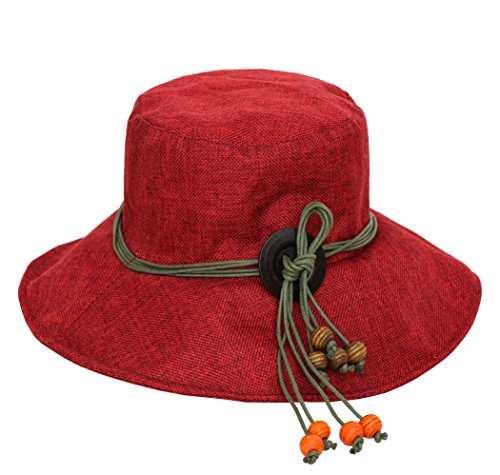 (Urban CoCo Women's Linen Wood Beads Wide Brim Caps Foldable Summer Sun Fisherman Bucket Hats (Bordeaux) )