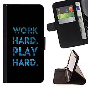 DEVIL CASE - FOR HTC One M9 - Play Hard Work Black Blue Tiles Inspiring - Style PU Leather Case Wallet Flip Stand Flap Closure Cover