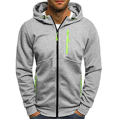 WOCACHI Mens Hoodies Zip Color Block Pullover Hooded Outerwear New Sweatshirt Clearance Sale Promotion Deal Autumn Winter Warm Tops Blouses Shirts