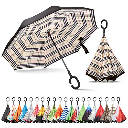 (Sharpty Inverted Umbrella, Umbrella Windproof, Reverse Umbrella, Umbrellas for Women with UV Protection, Upside Down Umbrella with C-Shaped Handle (Beige Plaid))