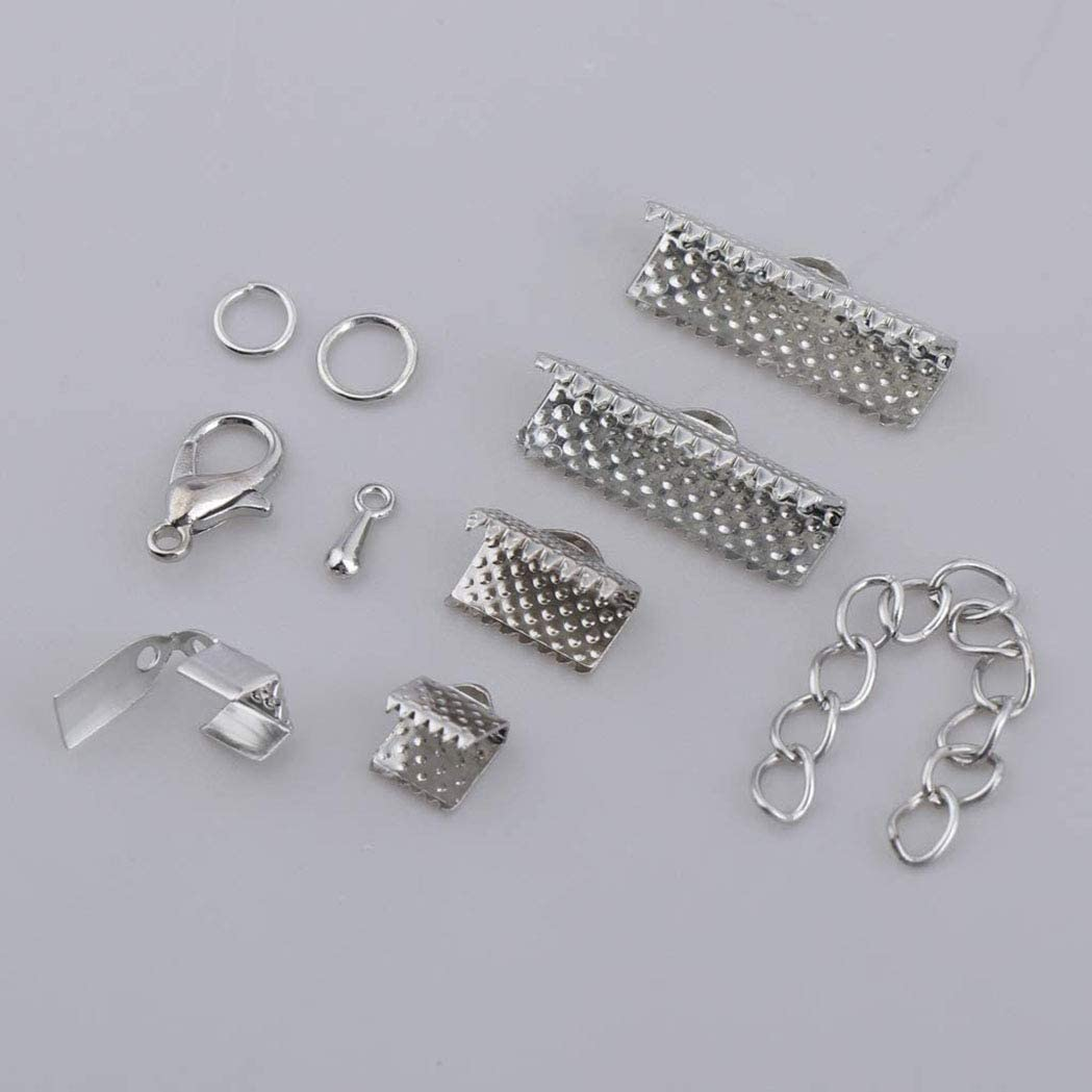 Silver Jewelry Finding Supplies Starter Kit 1 Box Of Kumihimo Cord End Cap Lobster Clasp Ribbon Clamp Jump Ring