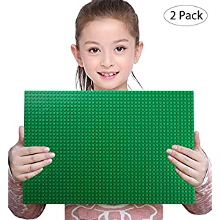Sawaruita 2 Pack Classic Baseplate Supplement, 10 x 15 Large Plates for Building Bricks, Compatible with Lego Sets Kids Games Architecture Toys (Green)